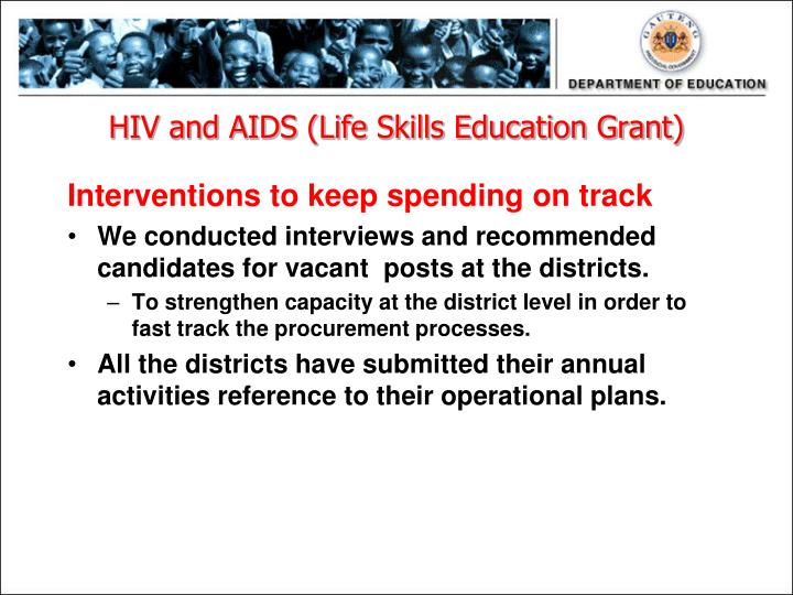 HIV and AIDS (Life Skills Education Grant)