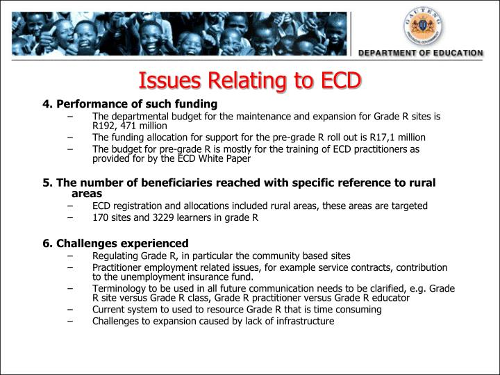 Issues Relating to ECD