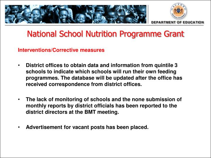 National School Nutrition Programme Grant