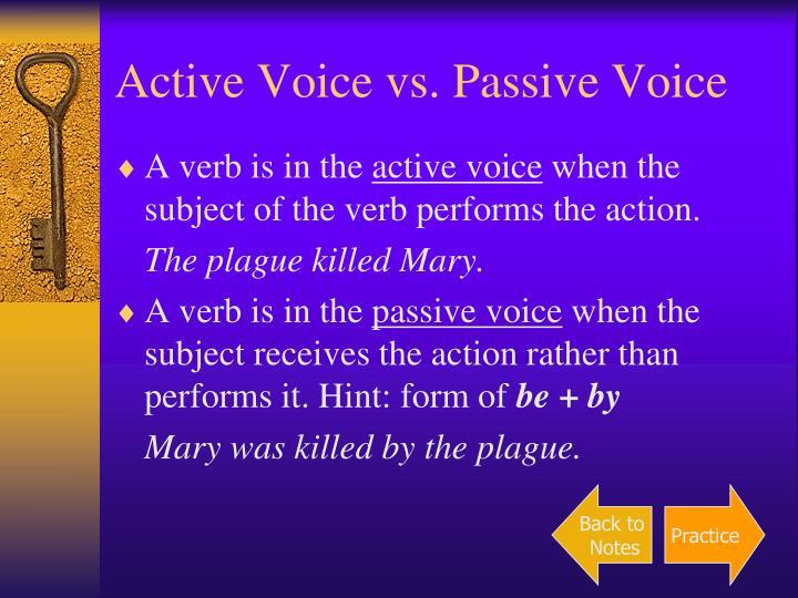 Active Voice vs. Passive Voice