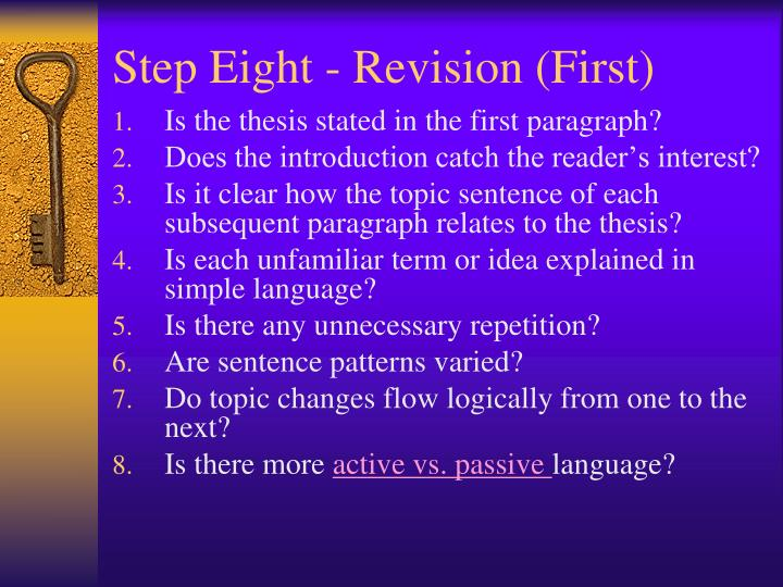 Step Eight - Revision (First)