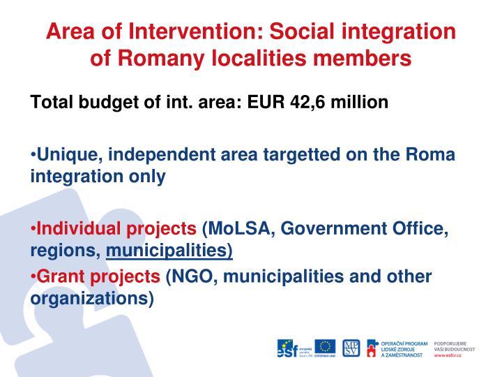Area of Intervention: Social integration