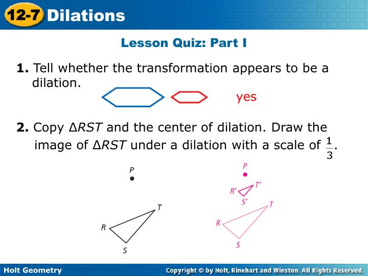 problem solving dilations lesson 12-7