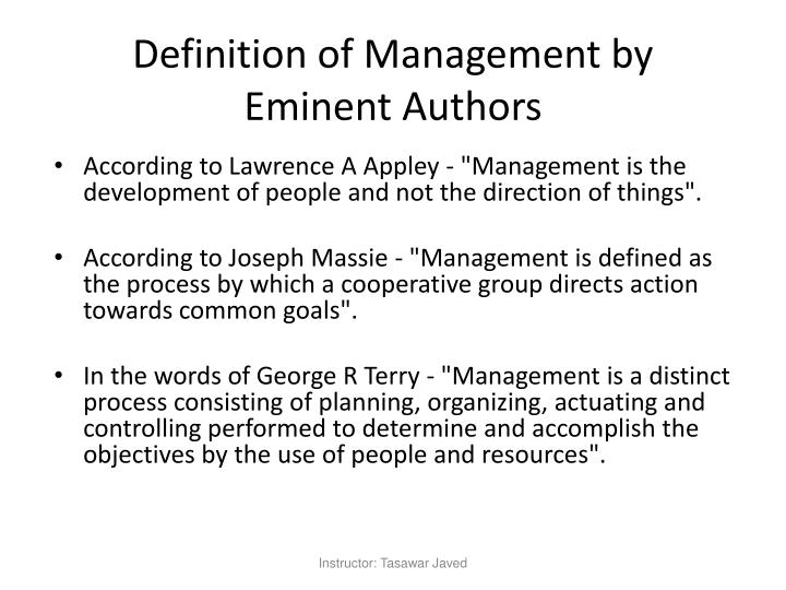 Definition of management by eminent authors