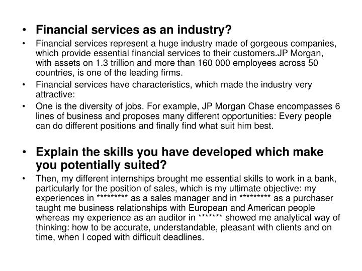 Financial services as an industry?