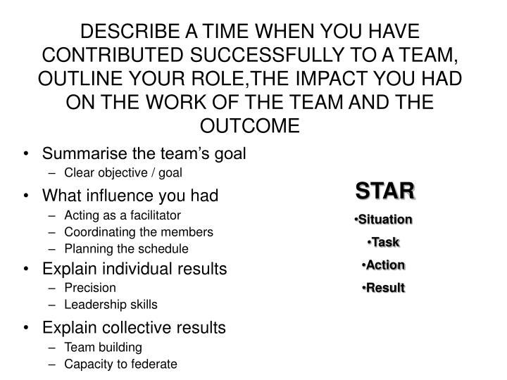 DESCRIBE A TIME WHEN YOU HAVE CONTRIBUTED SUCCESSFULLY TO A TEAM, OUTLINE YOUR ROLE,THE IMPACT YOU HAD ON THE WORK OF THE TEAM AND THE OUTCOME