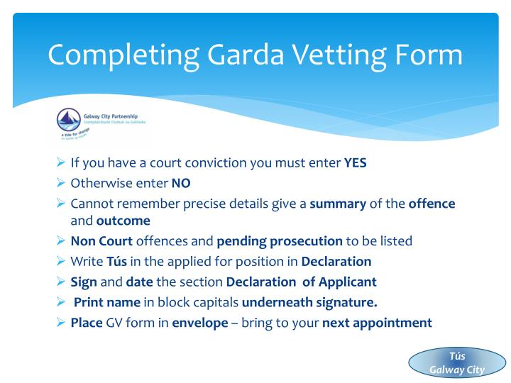 Completing Garda Vetting Form