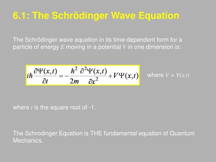 6.1: The Schrödinger Wave Equation