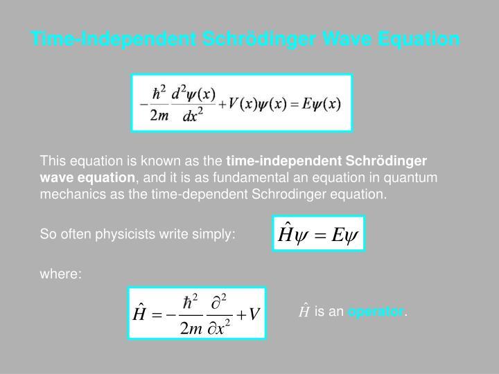 Time-Independent Schrödinger Wave Equation