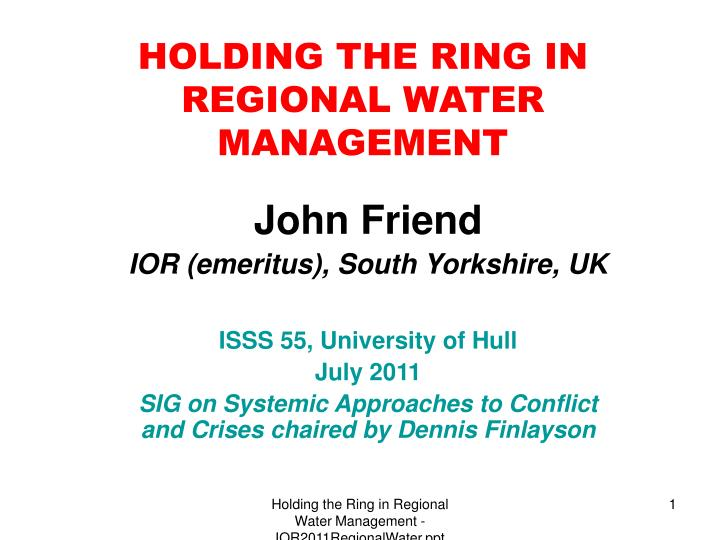 holding the ring in regional water management n.