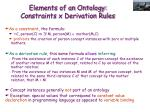 elements of an ontology constraints x derivation rules