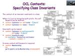 ocl contexts specifying class invariants