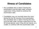 illness of candidates