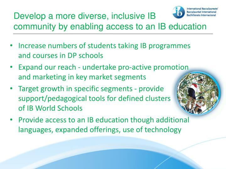 Develop a more diverse, inclusive IB