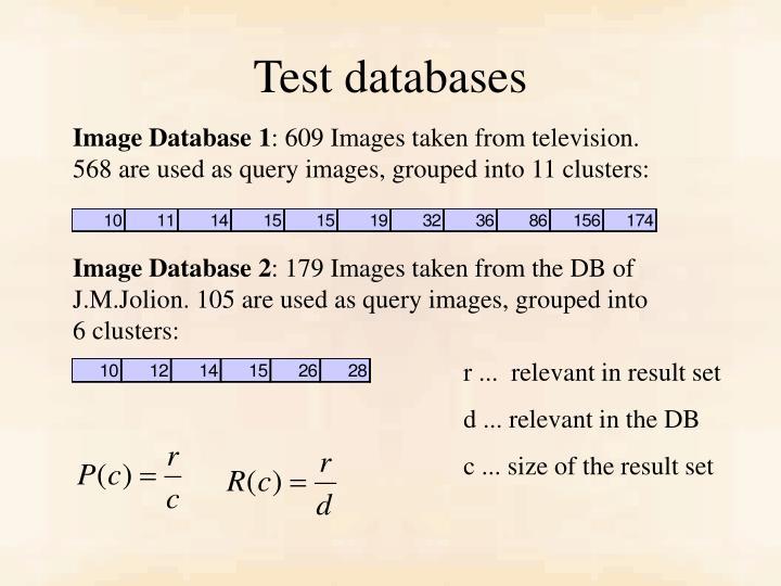Test databases