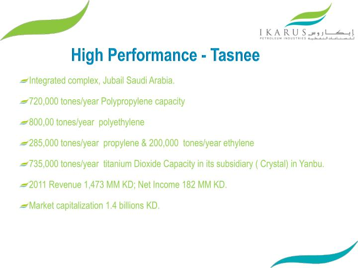 High Performance - Tasnee