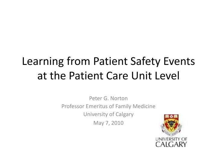 learning from patient safety events at the patient care unit level n.