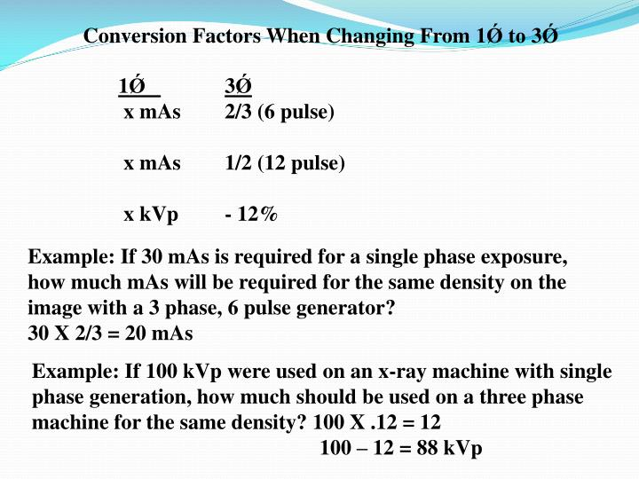 Conversion Factors When Changing From 1