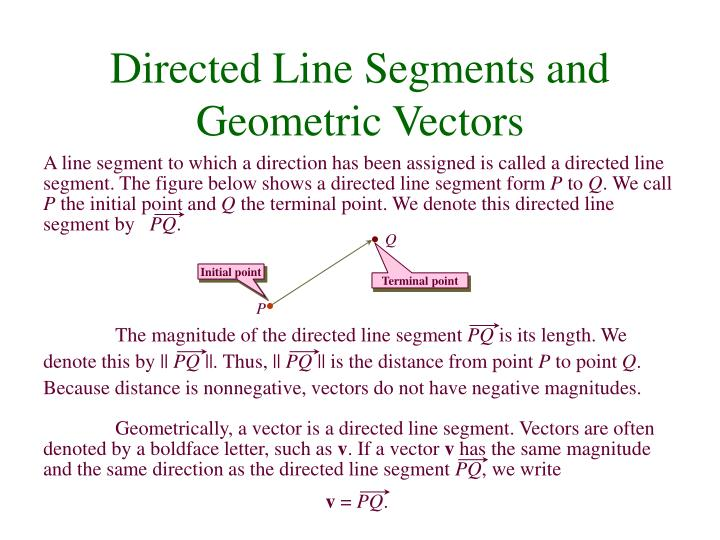 A line segment to which a direction has been assigned is called a directed line segment. The figure below shows a directed line segment form