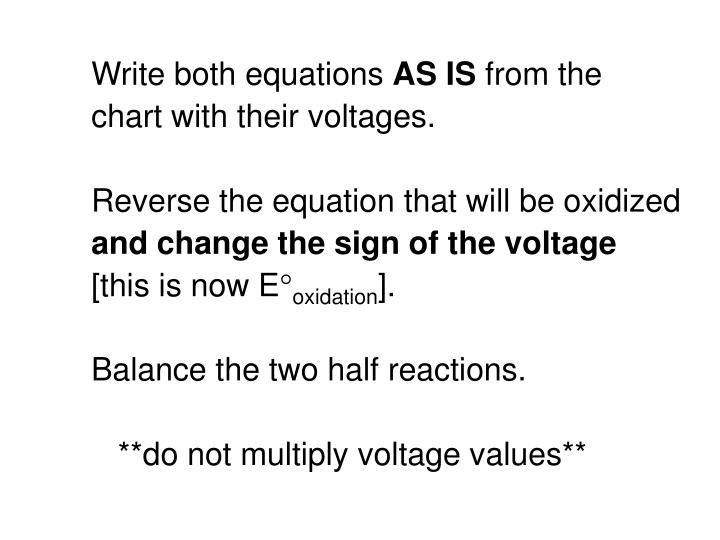 Write both equations