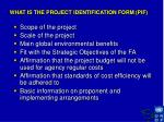what is the project identification form pif