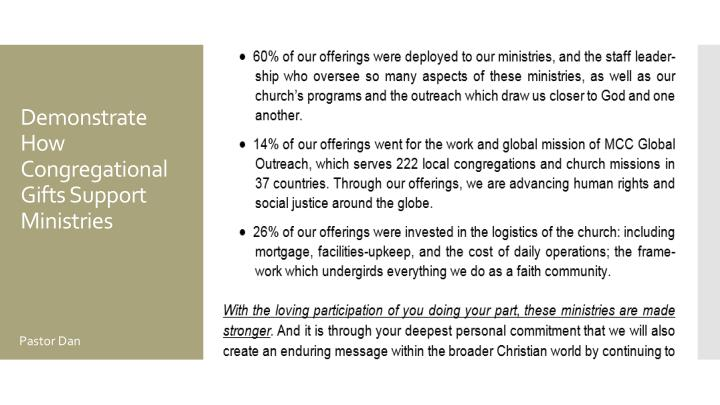 Demonstrate How Congregational Gifts Support Ministries