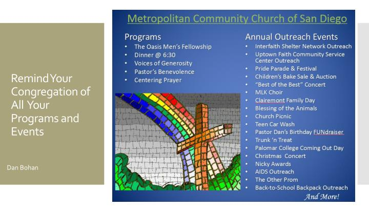 Remind Your Congregation of All  Your Programs and Events