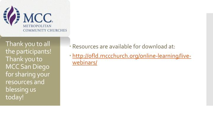 Resources are available for download at:
