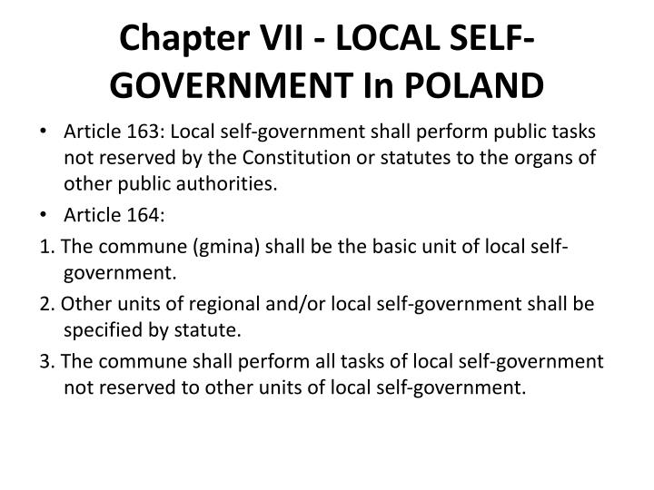 Chapter VII - LOCAL SELF-GOVERNMENT In POLAND