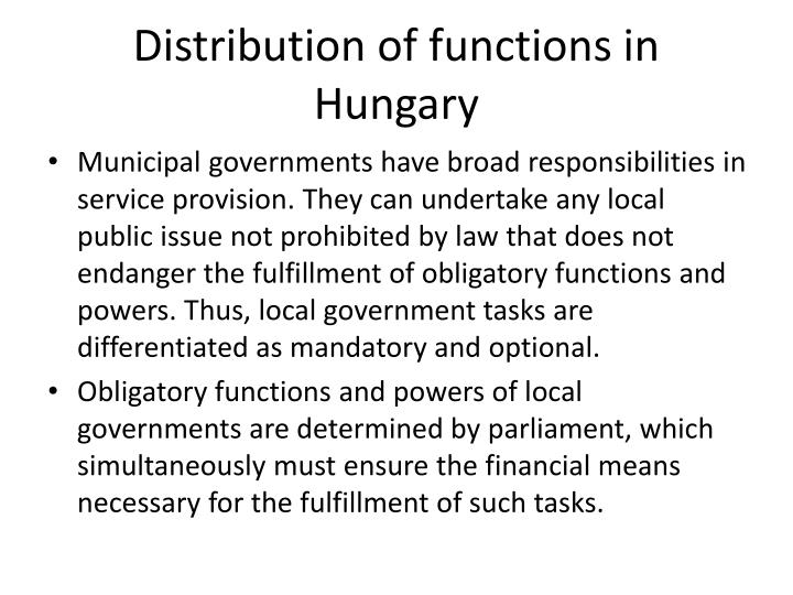 Distribution of functions in Hungary