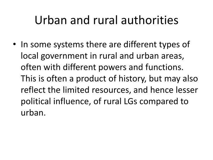 Urban and rural authorities