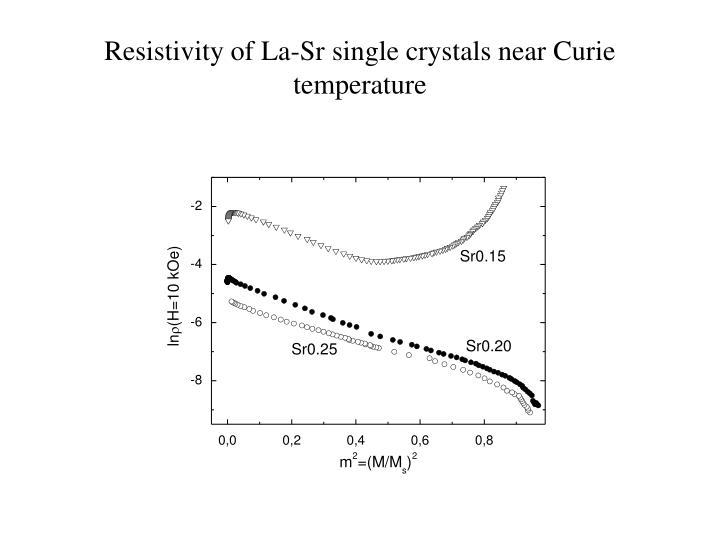 Resistivity of La-Sr single crystals near Curie temperature