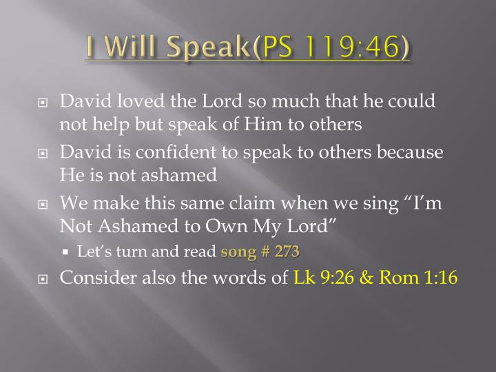 I Will Speak(
