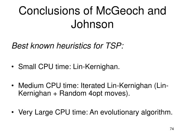 Conclusions of McGeoch and Johnson