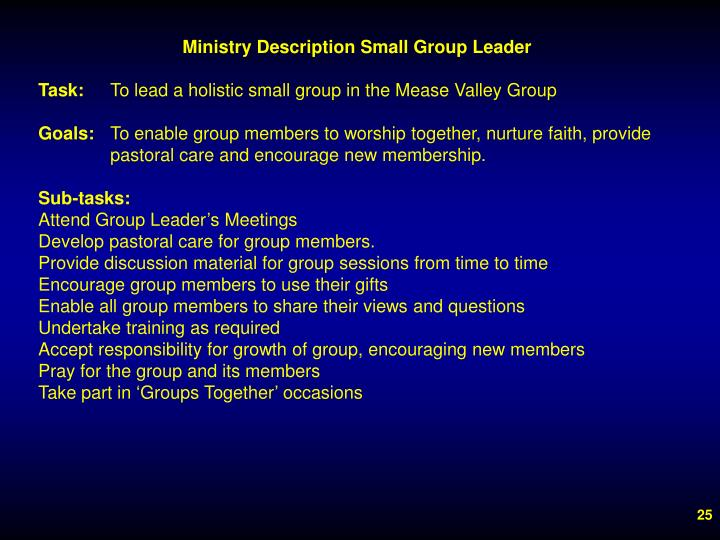 Ministry Description Small Group Leader