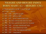 weight and height index body mass g height cm