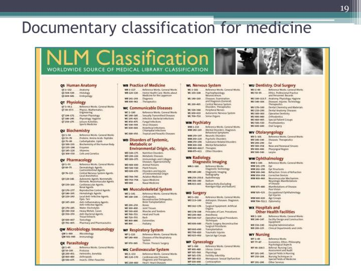 Documentary classification for medicine
