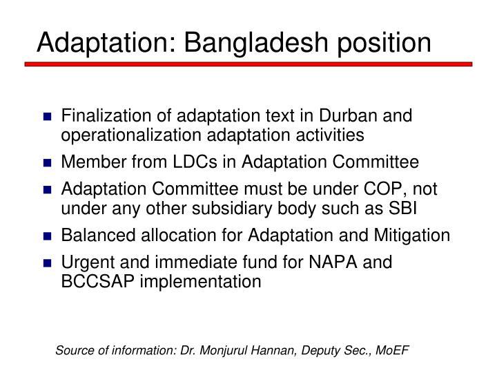 Adaptation: Bangladesh position