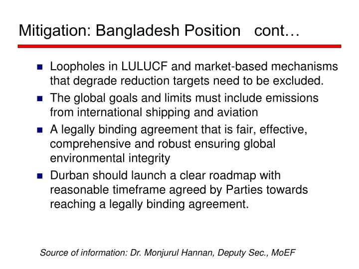 Mitigation: Bangladesh Position   cont…