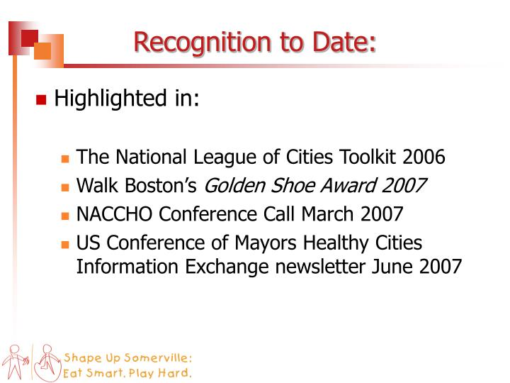 Recognition to Date: