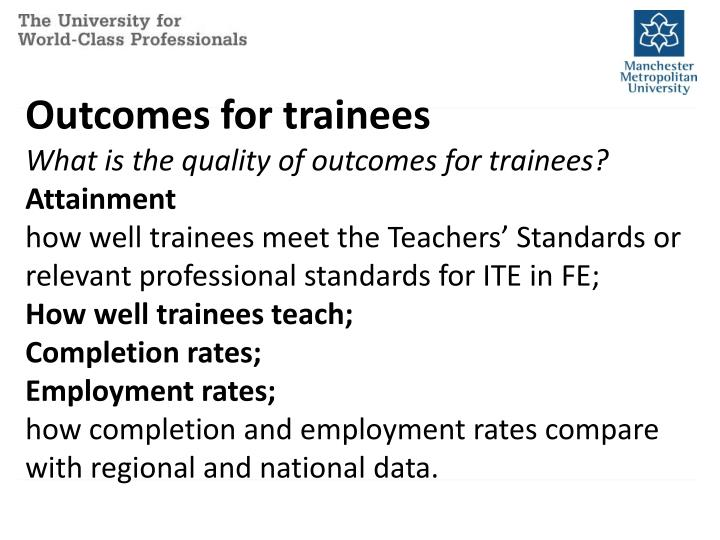 Outcomes for trainees