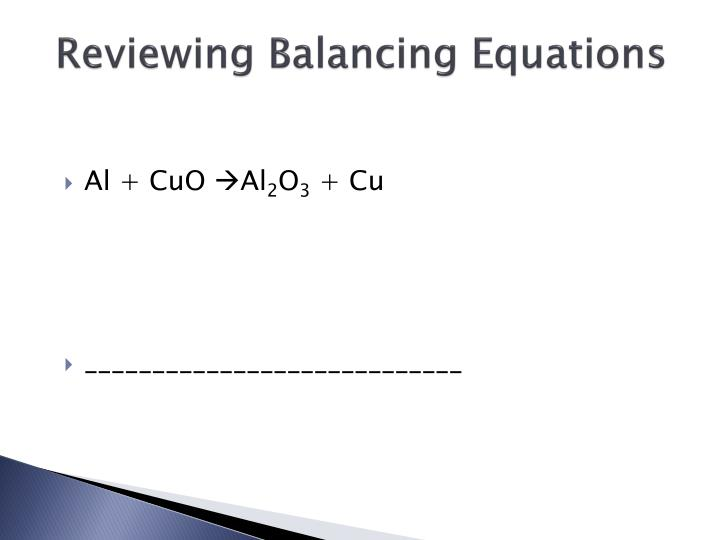 Reviewing Balancing Equations