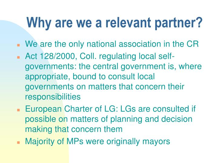 Why are we a relevant partner?