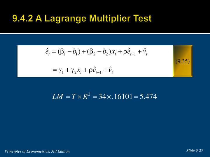 9.4.2 A Lagrange Multiplier Test