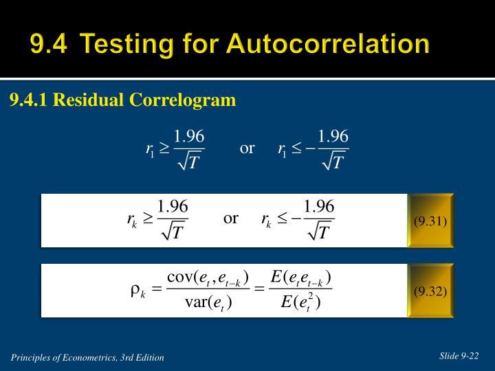 9.4Testing for Autocorrelation