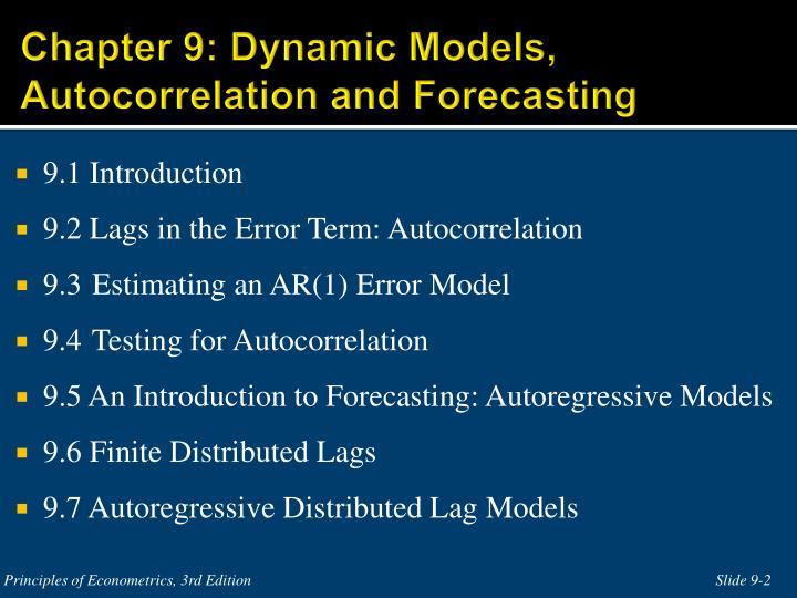 Chapter 9 dynamic models autocorrelation and forecasting