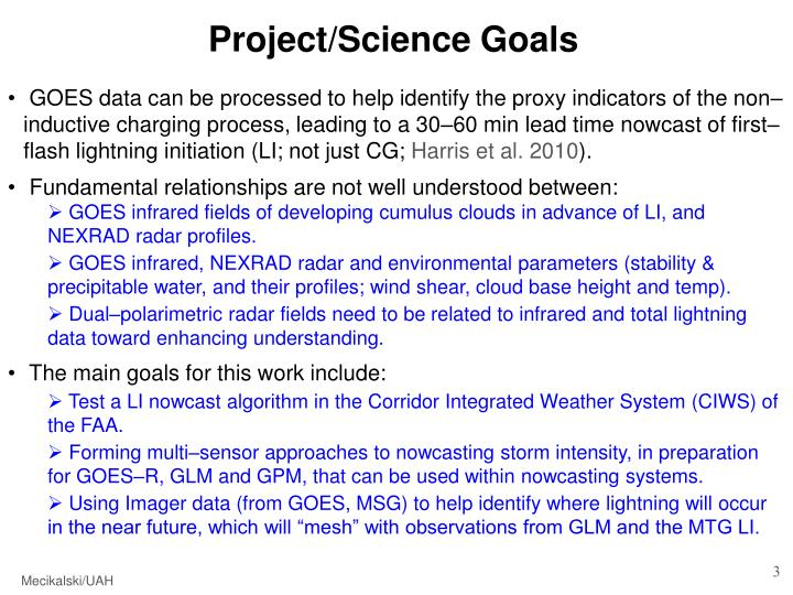 Project/Science Goals