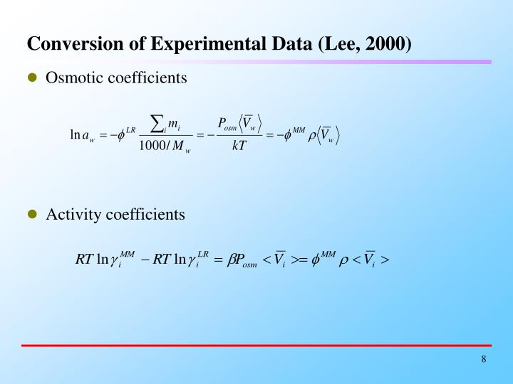 Conversion of Experimental Data (Lee, 2000)