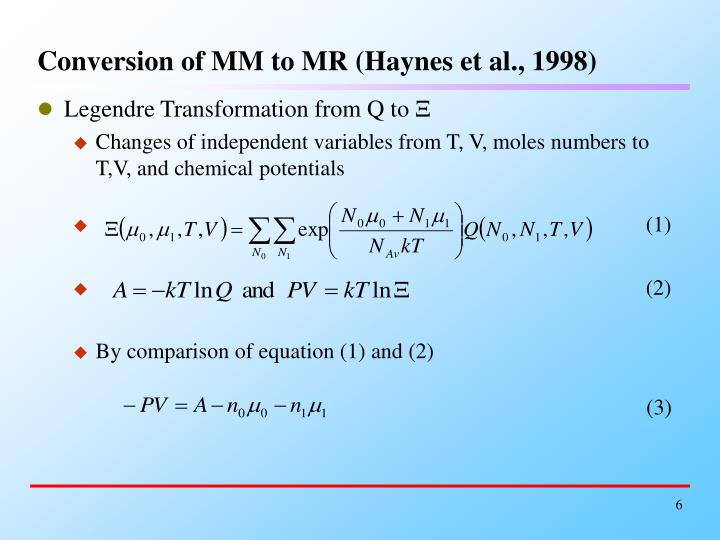 Conversion of MM to MR