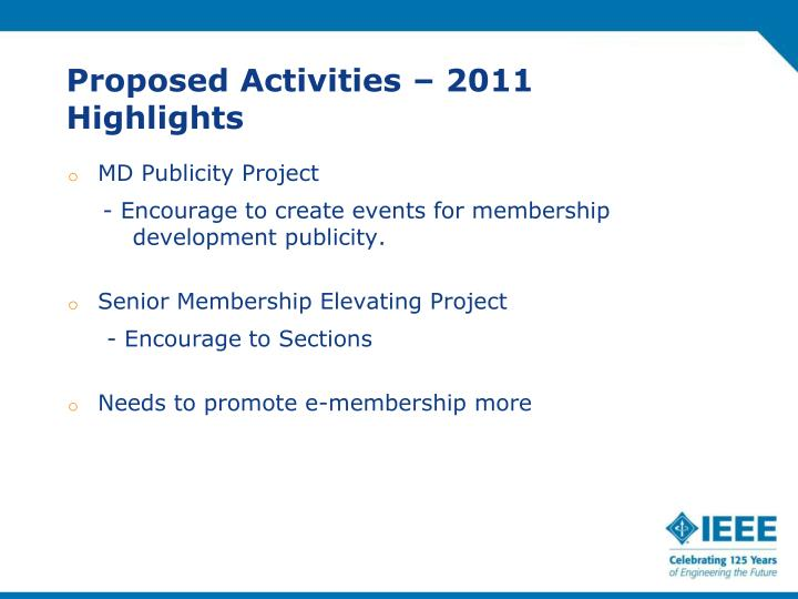 Proposed Activities – 2011